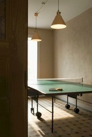 A pendent lamp above a table tennis table 20052001729| 写真素材・ストックフォト・画像・イラスト素材|アマナイメージズ