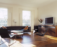 Black leather, retro armchairs and couch in living room with 20052012478| 写真素材・ストックフォト・画像・イラスト素材|アマナイメージズ