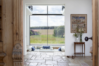 View of hallway and living room of modern country house with 20052013521| 写真素材・ストックフォト・画像・イラスト素材|アマナイメージズ