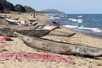 Primitive wooden fishing boats / proas and fishing nets on the beach, Lake Malawi, Malawi, Africa. (Photo by: Arterra/UIG) 20053015054| 写真素材・ストックフォト・画像・イラスト素材|アマナイメージズ