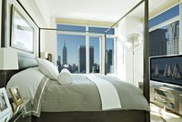 Model Bedroom With View Of Downtown And Empire State Building 20055022325| 写真素材・ストックフォト・画像・イラスト素材|アマナイメージズ