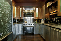 Stainless And Wood Kitchen, Chalkboard On Refrigerator 20055022329| 写真素材・ストックフォト・画像・イラスト素材|アマナイメージズ