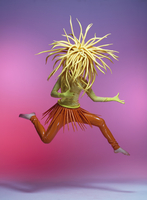 A young girl wearing a tight yellow and orange costume plays air guitar while jumping. 20055024241| 写真素材・ストックフォト・画像・イラスト素材|アマナイメージズ