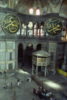 Interior with giant medallions inscribed with the different names of Allah, Santa Sofia, UNESCO World Heritage Site, Istanbul, T 20062005153| 写真素材・ストックフォト・画像・イラスト素材|アマナイメージズ