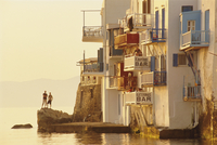 Little Venice in the Alefkandra district of Mykonos Town,  Mykonos, Cyclades Islands, Greece, Europe 20062015613| 写真素材・ストックフォト・画像・イラスト素材|アマナイメージズ