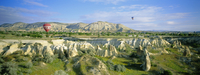 Panoramic view from hot air balloon of Cappadocian landscape and hot air balloons, Cappadocia, Anatolia, Turkey, Asia Minor, Asi 20062015650| 写真素材・ストックフォト・画像・イラスト素材|アマナイメージズ