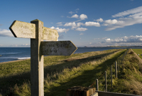 Public footpath sign on Lindisfarne (Holy Island), Northumberland, England, United Kingdom, Europe
