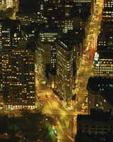 The Flat Iron Building and Broadway illuminated at night, viewed from the Empire State Building, Manhattan, New York City, Unite 20062026449| 写真素材・ストックフォト・画像・イラスト素材|アマナイメージズ