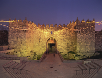 Damascus Gate at dusk, Old City, UNESCO World Heritage Site, Jerusalem, Israel, Middle East 20062027944| 写真素材・ストックフォト・画像・イラスト素材|アマナイメージズ