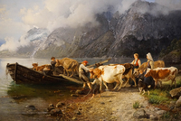 Fjord landscape with cattle by Anders Askevold, KODE 3 Art Museum, Bergen, Hordaland, Norway, Scandinavia, Europe 20062034865| 写真素材・ストックフォト・画像・イラスト素材|アマナイメージズ