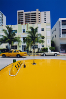 Yellow taxi, South Beach, Miami Beach, Florida, USA