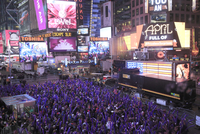 Crowds of revellers on New Years Eve, Times Square, Manhattan, New York City, New York, United States of America, North America