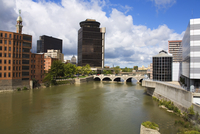 Genesee River and skyline, Rochester, New York State, United States of America, North America 20062068431| 写真素材・ストックフォト・画像・イラスト素材|アマナイメージズ