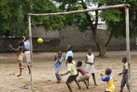 Soccer game in a school, Lome, Togo, West Africa, Africa