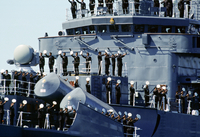 Australian warship and crew take part in Naval Review and maritime parade in Sydney Harbour for Australia's Bicentenary, 1988 20062119308| 写真素材・ストックフォト・画像・イラスト素材|アマナイメージズ