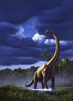 A startled Brachiosaurus splashes through a swamp against a stormy sky. 20064000011| 写真素材・ストックフォト・画像・イラスト素材|アマナイメージズ