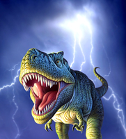 A Tyrannosaurus Rex with a blue stormy sky and lightning behind it. 20064000028| 写真素材・ストックフォト・画像・イラスト素材|アマナイメージズ