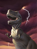 A Tyrannosaurus Rex with a red stormy sky and lightning behind it. 20064000029| 写真素材・ストックフォト・画像・イラスト素材|アマナイメージズ