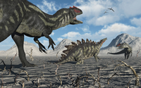 Allosaurus dinosaurs moving in to kill a Stegosaurus trapped in a mud pit. 20064000053| 写真素材・ストックフォト・画像・イラスト素材|アマナイメージズ