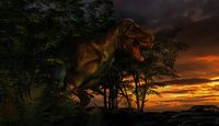 Tyranosaurus Rex emerging from a forest on the lookout for prey. 20064000104| 写真素材・ストックフォト・画像・イラスト素材|アマナイメージズ