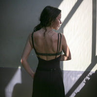 Rear view of woman after Flamenco dancing. Madrid, Spain