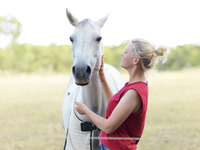 Blonde young woman with white horse in a field 20071009346| 写真素材・ストックフォト・画像・イラスト素材|アマナイメージズ