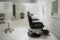 Hairdressing salon interior. Berlin, Germany