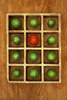 Green and red tomatoes in compartments 20071011516| 写真素材・ストックフォト・画像・イラスト素材|アマナイメージズ