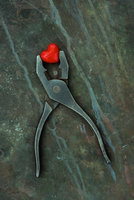 Pliers holding glass heart