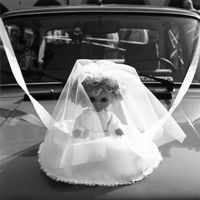 Wedding doll on car