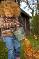 Bedfordshire, England. A little girl feeds the chickens while glamping. MR 20088007207| 写真素材・ストックフォト・画像・イラスト素材|アマナイメージズ