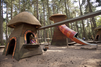 Nottinghamshire, UK. Children playing at Sherwood Pines forest park. (MR)