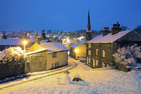 England, West Yorkshire, Calderdale. The village of Ripponden in winter.