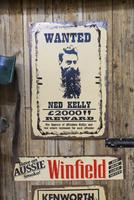 Australia, Victoria, VIC, Castlemaine, Restorers Barn, antique Wanted poster for legendary Australlian bandit Ned Kelly 20088010813| 写真素材・ストックフォト・画像・イラスト素材|アマナイメージズ