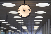 Denmark, Zealand, Copenhagen, Copenhagen Intertnational Airport, interior of Terminal 2 with clock