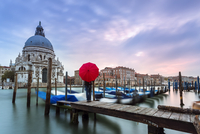 Italy, Veneto, Venice. Santa Maria della Salute church on the Grand Canal, at sunset, woman standing with red umbrella (MR) 20088046201| 写真素材・ストックフォト・画像・イラスト素材|アマナイメージズ