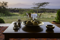 Kenya, Amboseli, Tortilis Camp. A table set for breakfast outside the private house in Tortilis. 20088053367| 写真素材・ストックフォト・画像・イラスト素材|アマナイメージズ