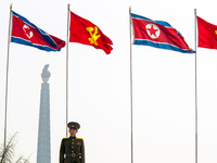 Democratic Peoples's Republic of Korea (DPRK), North Korea, Pyongyang, Juche Tower (symbol of the Juche Idea, penned by Kim Il S 20088060858| 写真素材・ストックフォト・画像・イラスト素材|アマナイメージズ