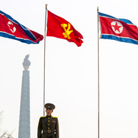 Democratic Peoples's Republic of Korea (DPRK), North Korea, Pyongyang, Juche Tower (symbol of the Juche Idea, penned by Kim Il S 20088060859| 写真素材・ストックフォト・画像・イラスト素材|アマナイメージズ