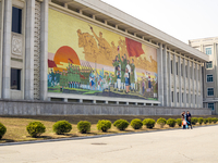 Democratic Peoples's Republic of Korea (DPRK), North Korea, Pyongyang, Pyongyang Film Studios, Wall murals 20088060863| 写真素材・ストックフォト・画像・イラスト素材|アマナイメージズ