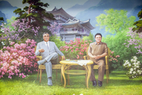 Democratic Peoples's Republic of Korea (DPRK), North Korea, painting of the Great Leaders Kim Jong Il and Kim Il Sung 20088060869| 写真素材・ストックフォト・画像・イラスト素材|アマナイメージズ
