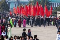 Democratic Peoples's Republic of Korea (DPRK), North Korea, Pyongshong, satellite city outside of Pyongyang, celebrations on the 20088060889| 写真素材・ストックフォト・画像・イラスト素材|アマナイメージズ