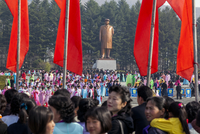Democratic Peoples's Republic of Korea (DPRK), North Korea, Pyongshong, satellite city outside of Pyongyang, celebrations on the 20088060893| 写真素材・ストックフォト・画像・イラスト素材|アマナイメージズ