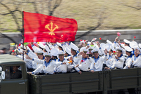 Democratic Peoples's Republic of Korea (DPRK), North Korea, Pyongyang, Military parade during street celebrations on the 100th a 20088060925| 写真素材・ストックフォト・画像・イラスト素材|アマナイメージズ
