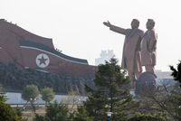 Democratic Peoples's Republic of Korea (DPRK), North Korea, Pyongyang, statues of the Great Leaders Kim Jong Il and Kim Il Sung 20088060928| 写真素材・ストックフォト・画像・イラスト素材|アマナイメージズ