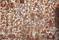 South America, Peru, La Libertad, Trujillo, detail of a mural on the Moche Temple of the Moon showing what is thought be either 20088064161| 写真素材・ストックフォト・画像・イラスト素材|アマナイメージズ