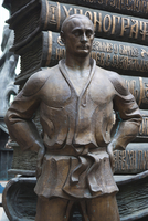 Russia, Moscow, Presnya-area, Studio of Zurab Tsereteli, Russian Super-artist, sculpture of Premier Vladimir Putin in karate cos