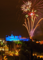 UK, Scotland, Lothian, Edinburgh, Fringe Festival Royal Military Tattoo Show Fireworks viewed from the Calton Hill.