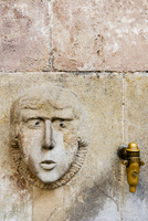 Medieval water fountain in Plaza Sant Just, Barcelona, Catalonia, Spain