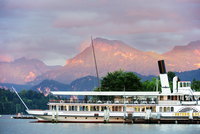 Europe, Switzerland, Lucerne, steam boat on Lake Lucerne